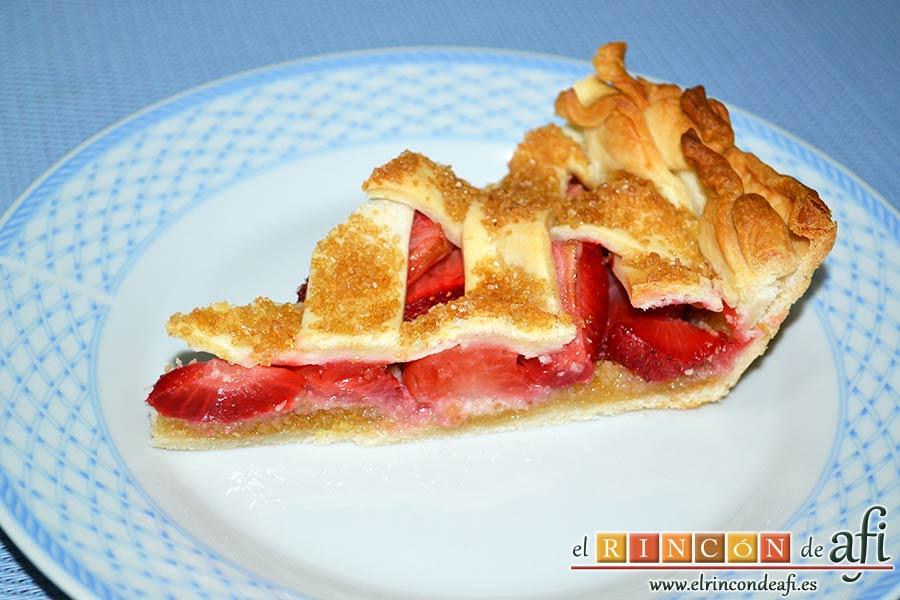 Tarta de fresas y almendras, sugerencia de presentación