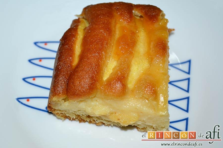 Bizcocho de manzana y crema pastelera, sugerencia de presentación