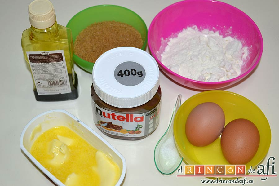 Brownie de Nutella, preparar los ingredientes