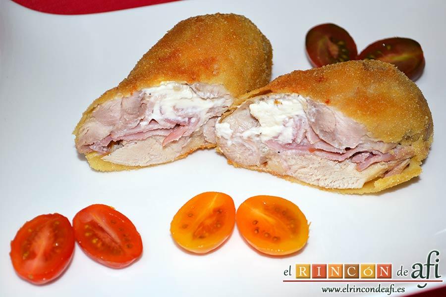 Muslos de pollo rellenos de queso y bacon
