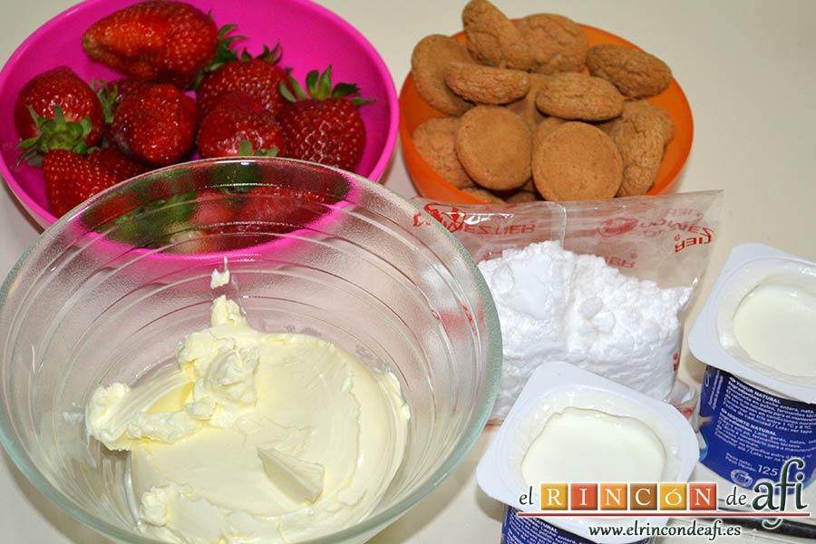 Tiramisú de fresas y amaretti, preparar los ingredientes