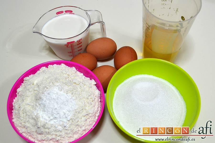 Bizcocho de aceite de oliva, preparar los ingredientes
