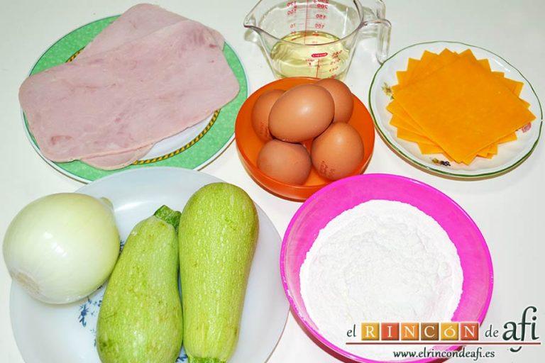 Pastel de calabacín, preparar los ingredientes