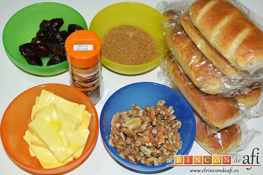 Pudin con dátiles, pan de leche, canela, nueces y mantequilla, preparar los ingredientes