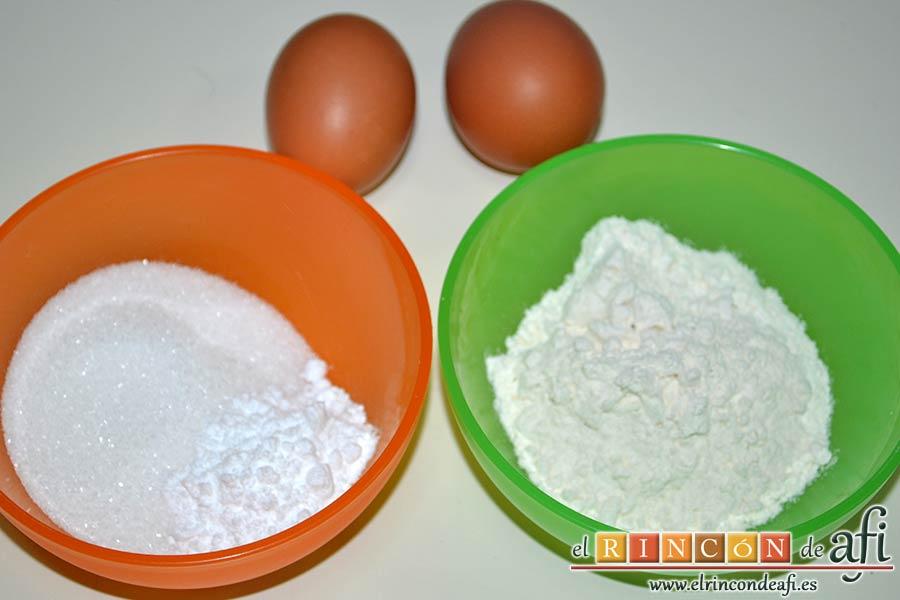 Bizcocho genovés, preparar los ingredientes