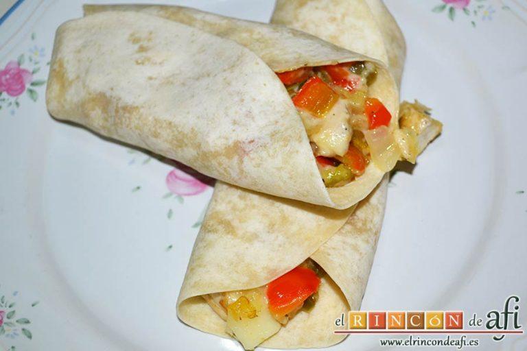 Burritos de pollo con queso, sugerencia de presentación