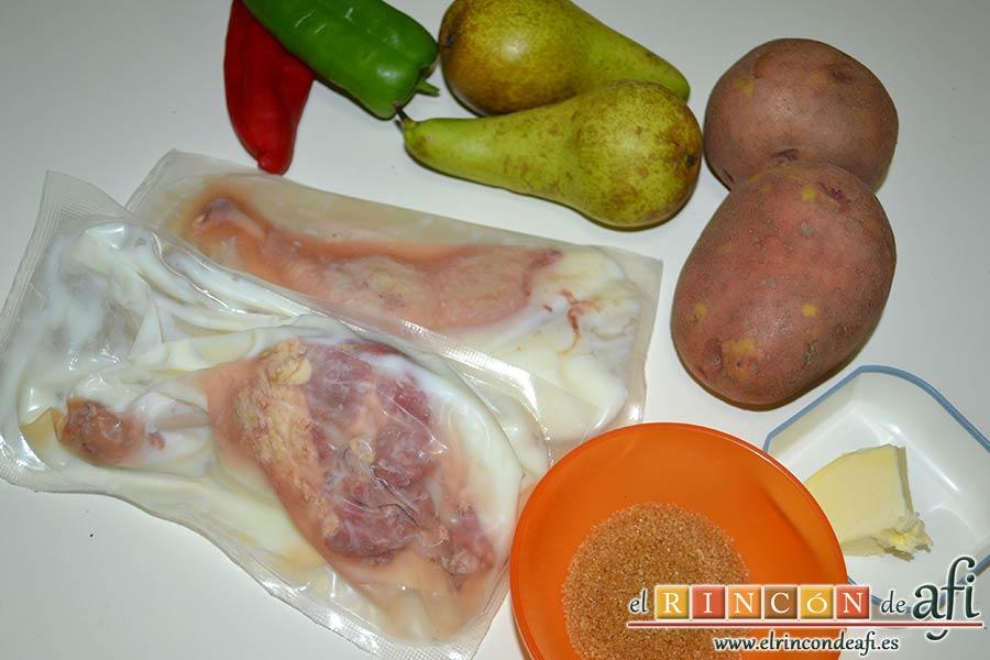 Confit de pato con tortitas de papas con pimientos y peras caramelizadas, preparar los ingredientes