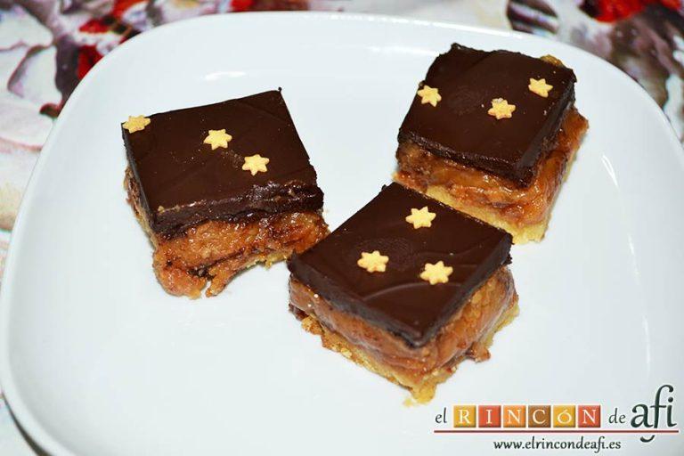 Delicias de Navidad con chocolate y caramelo, sugerencia de presentación