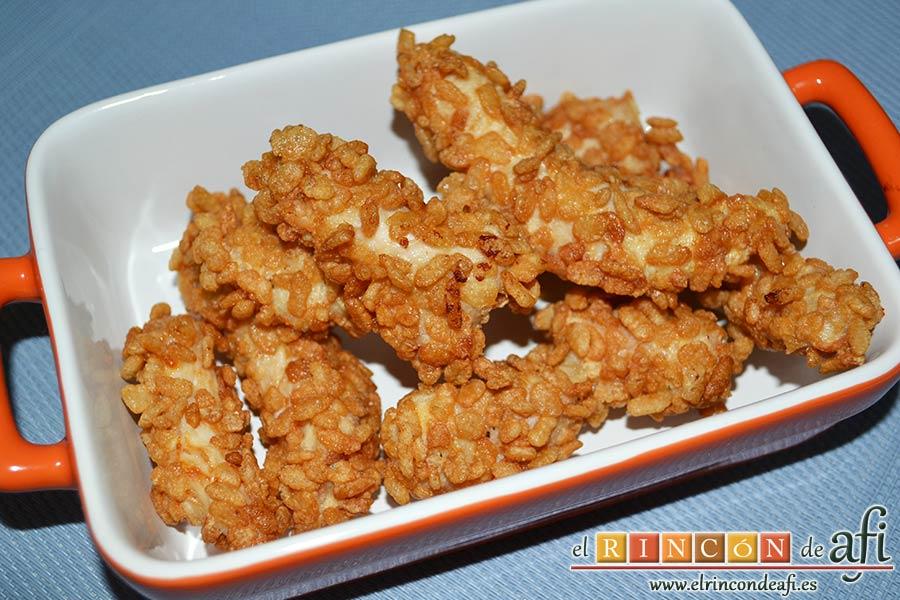 Fingers de pollo rebozados con cereales, sugerencia de presentación