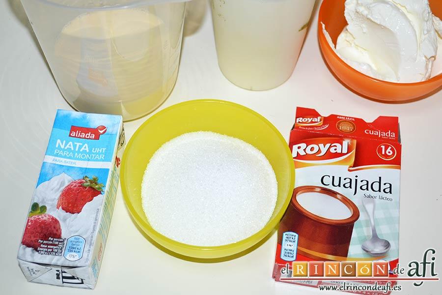Flan de mascarpone, preparar los ingredientes
