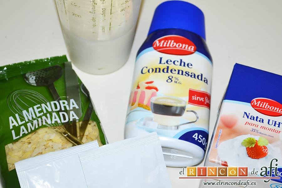 Pastel de cuajada con almendras, preparar los ingredientes