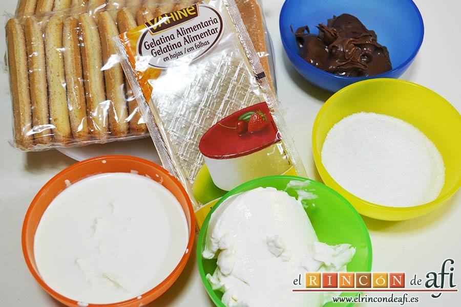 Pastel de soletillas, mascarpone y Nutella, preparar los ingredientes