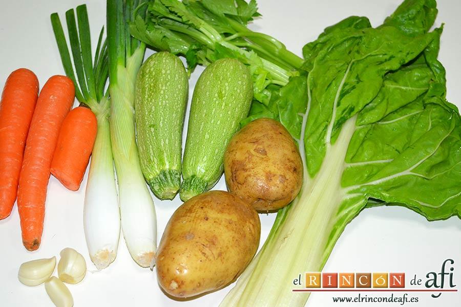 Sopa de verduras, preparar los ingredientes