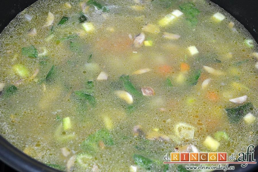 Sopa de verduras, añadir las dos pastillas de caldo de verduras y cubrir de agua, dejar cocer
