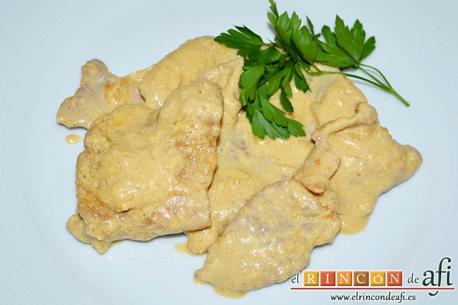 Filetes de cerdo con mostaza, sugerencia de presentación