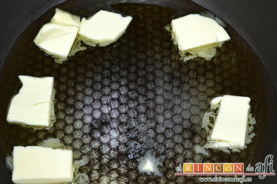 Plumcake de verduras, echar en una sartén caliente el aceite de oliva y la mantequilla