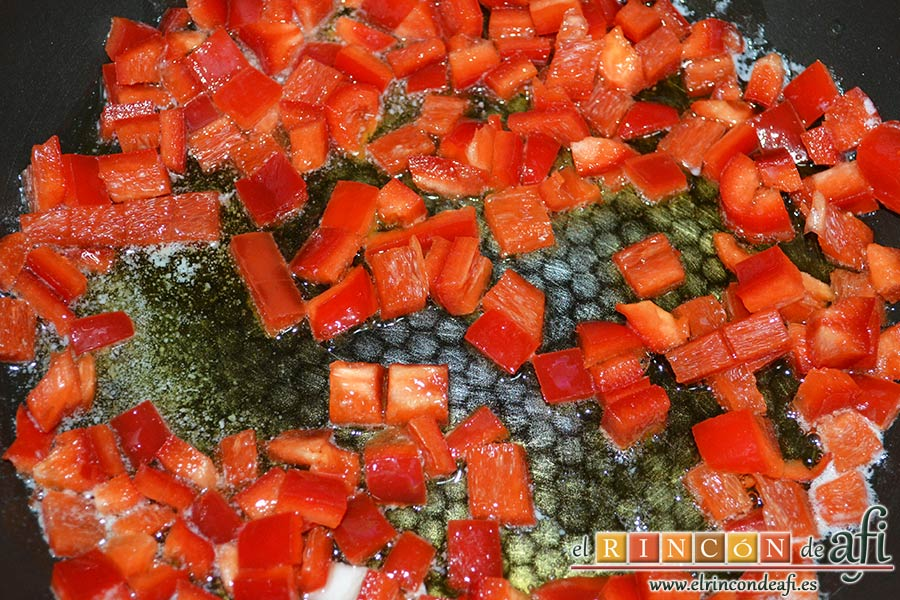 Plumcake de verduras, echar el pimiento