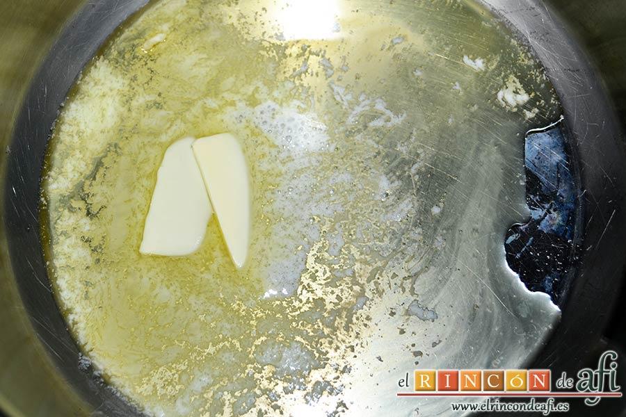 Tarta de manzana del Oso Yogui, derretir la mantequilla en un caldero