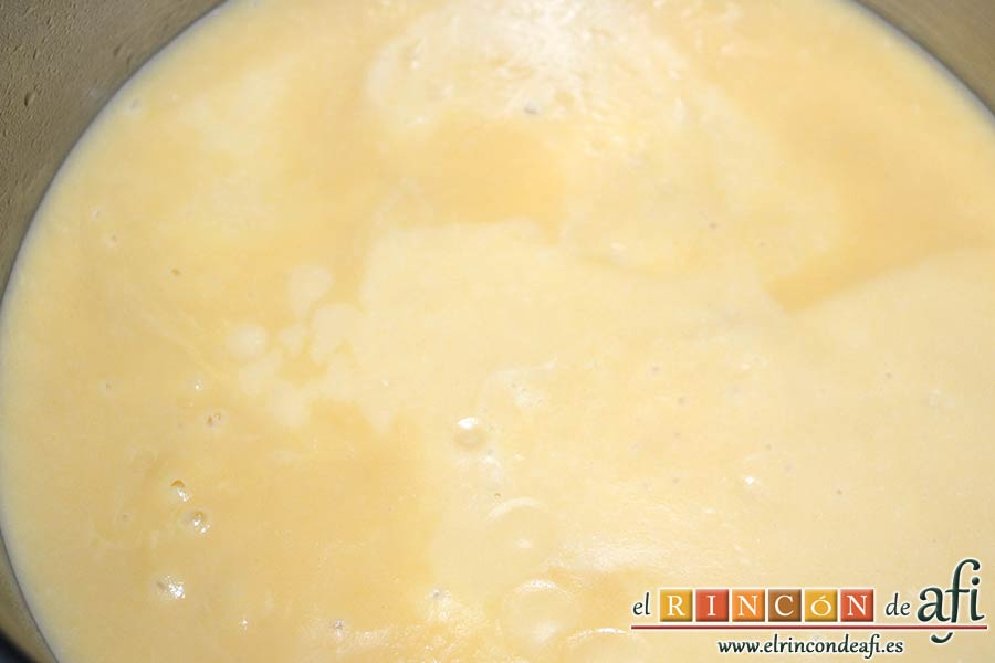 Crema de nabos, pasar la crema de nuevo a la olla