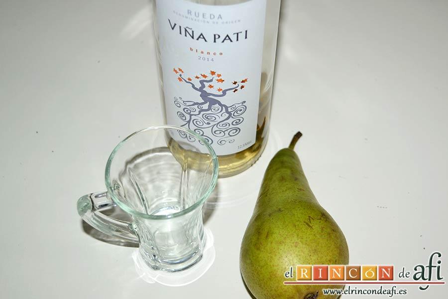 Risotto con champiñones, pera y nueces, preparar el vasito de vino