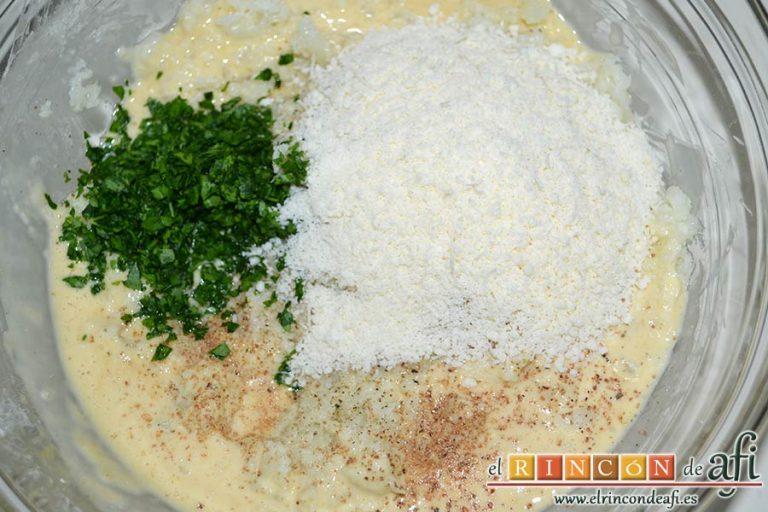 Delicias de coliflor, añadir si se desea el queso parmesano rallado