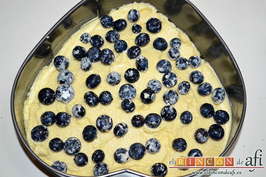 Tarta americana de arándanos, ponerlos sobre la mezcla vertida en el molde