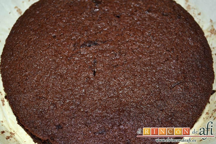 Pastel del diablo, hornear y comprobar con palito que están hechos