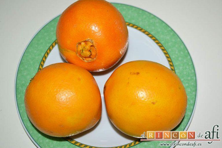 Bundt de naranja navideño, lavar bien las tres naranjas