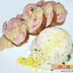 Solomillo de cerdo relleno en salsa de setas