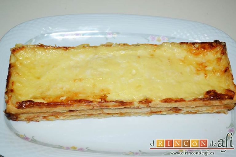 Croque cake de jamón y queso, sugerencia de presentación