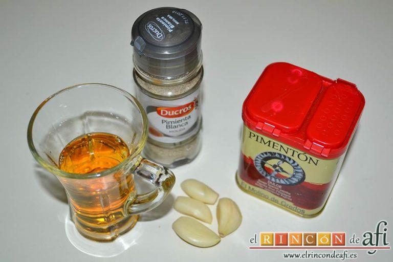 Col a la gallega, preparar los ingredientes para la salsa