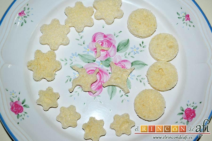 Crema de puerros con espárragos trigueros, sacar formas de pan de molde