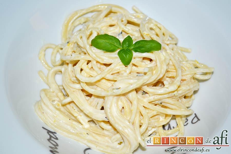 Espaguetis al limón, sugerencia de presentación