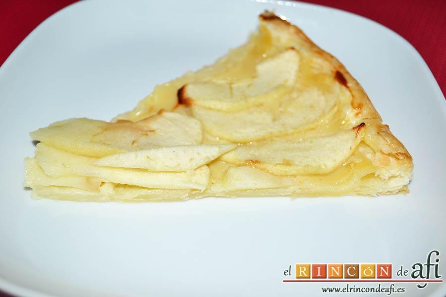 Hojaldre con crema pastelera y manzana, sugerencia de presentación