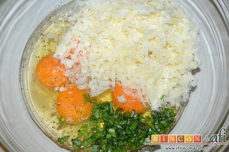 Tortilla de albahaca, añadir el queso rallado