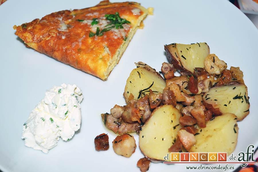 Tortilla de albahaca, sugerencia de presentación