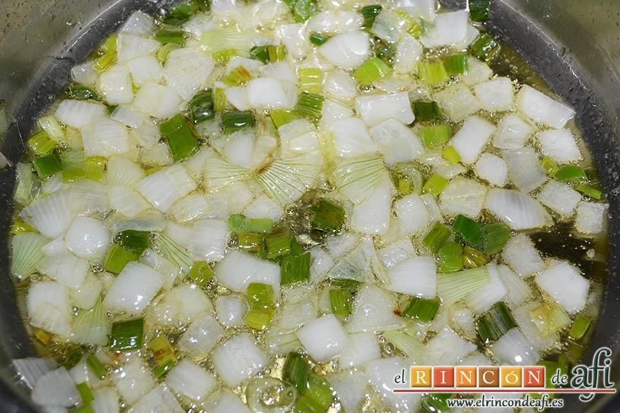 Empanado de cerdo con salsa de champiñones, echarla a un caldero con aceite de oliva y pochar