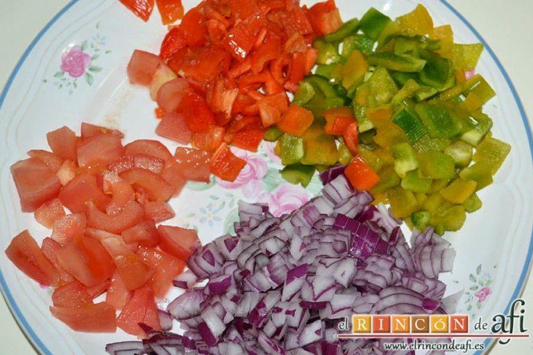 Potaje sencillo de judía arrocina, pelar y trocear las verduras
