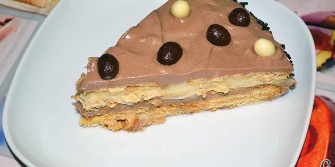 Tarta de galletas con chocolate y crema pastelera