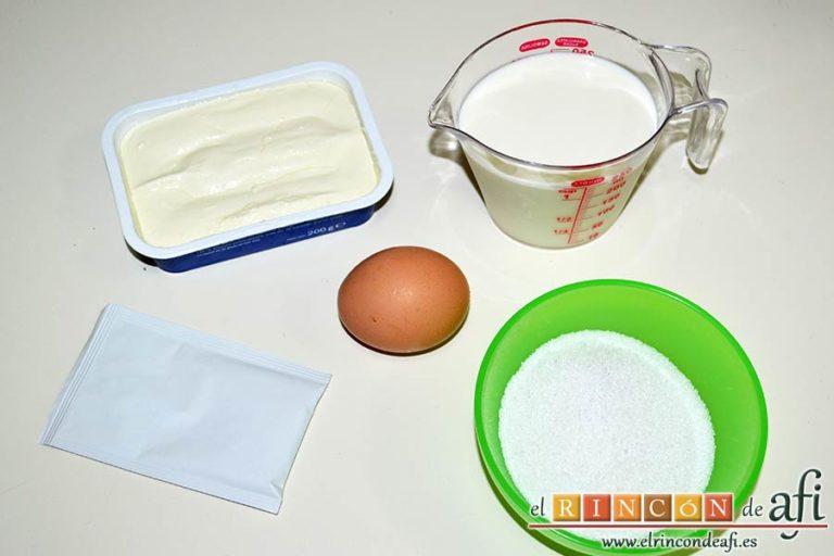Flan de queso crema, preparar los ingredientes