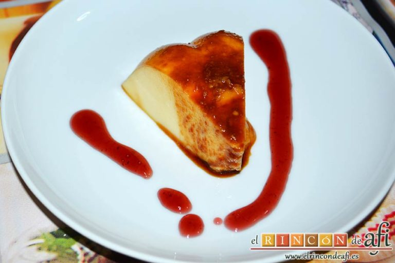 Flan de queso crema, sugerencia de presentación