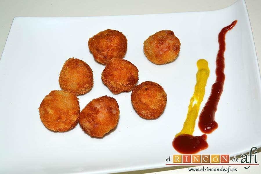 Croquetas de pollo y bacon, sugerencia de presentación