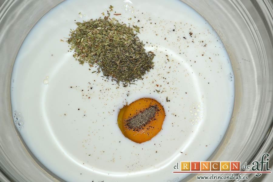 Minipanecillos de Provolone con hierbas, poner en un bol la leche, los huevos y las especias