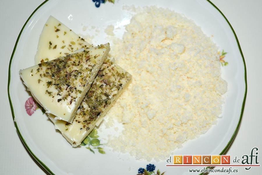 Minipanecillos de Provolone con hierbas, preparar los quesos