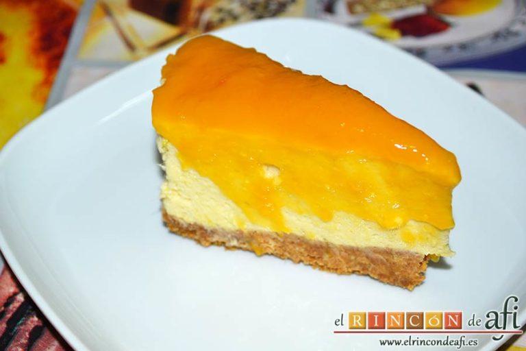 Tarta de mousse de mango con gelée, sugerencia de presentación