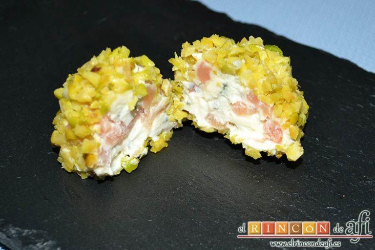 Bombones de salmón y queso, sugerencia de presentación