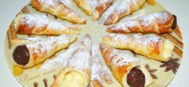 Conos de hojaldre rellenos con crema pastelera