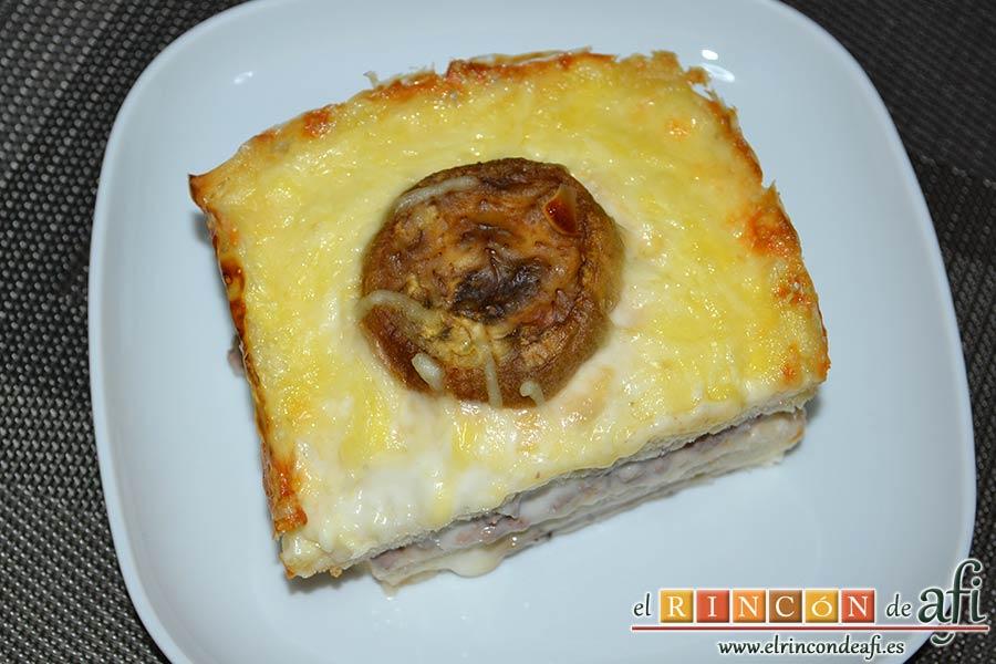 Croque cake de berenjenas, sugerencia de presentación
