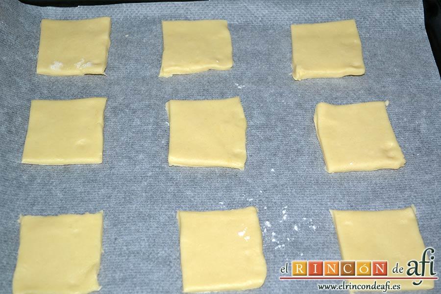 Pajaritas de galleta, ponerlos en una bandeja de horno con papel de horno