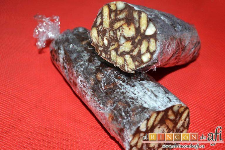 Salchichón de chocolate, sugerencia de presentación